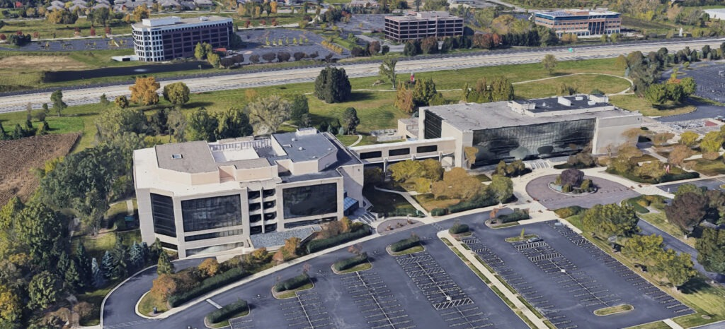 An aerial shot of the Quantum Health building and surrounding campus