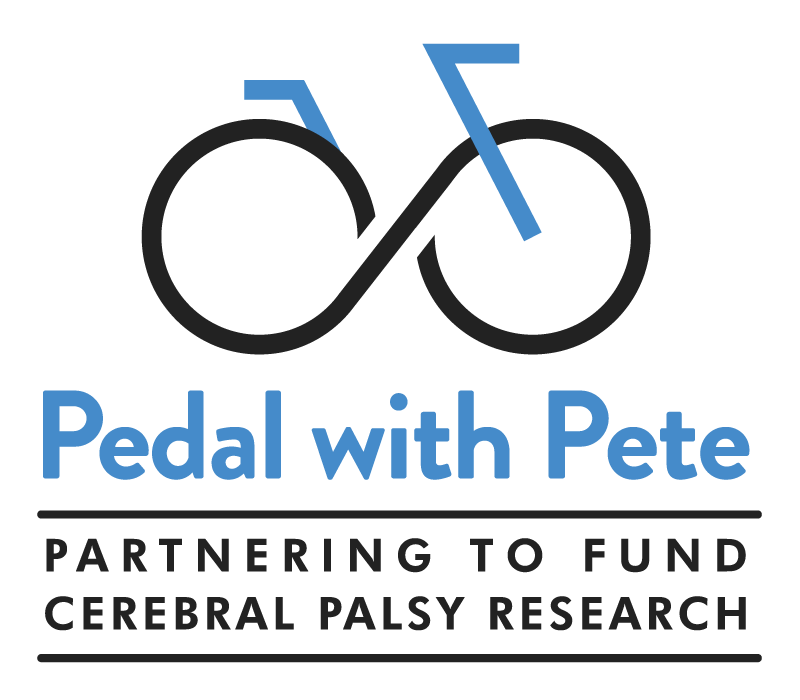 """A blue and black logo of a bicycle with the text """"Pedal with Pete"""" and """"Partnering to Fund Cerebral Palsy Research"""" underneath"""